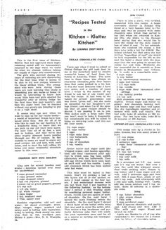 Kitchen Klatter Magazine, August 1947 - Cooked Hot Dog Relish, Texas Chocolate Cake, 100 Dollar Cake, Sweep Stake Chocolate Cake, Icing