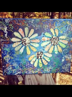 Mixed media canvas  Peace love happiness flowers