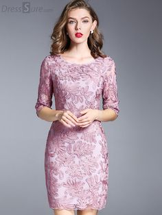 Buy Elegant O-Neck Half Sleeve Embroidery Bodycon Dress with High Quality and Lovely Service at DressSure.com
