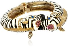 "Betsey Johnson ""A Day at the Zoo"" Zebra Hinged Bangle Bracelet, 7.5"""
