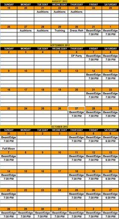 2012 Season Calendar