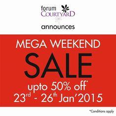 Mega Weekend Sale. Enjoy upto 50% off .  Forum Mall is now Forum Courtyard
