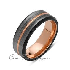 8mm,Rose Gold,Unique,Black and Gray Brushed,,Tungsten Ring,Men's Wedding Band,