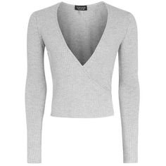 Topshop Long Sleeve Wrap Ribbed Top ($13) ❤ liked on Polyvore featuring tops, sweaters, shirts, topshop, wrap sweater, white shirts, white long sleeve sweater, long-sleeve shirt and wrap shirt