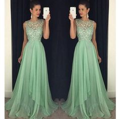 Mint Green Beaded Top A Line Junior Long Prom Dresses, PM0095 The dress is fully lined, 4 bones in the bodice, chest pad in the bust, lace up back or zipper back are all available. This dress could be