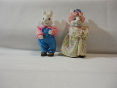 Mr. and Mrs. Ceramic #Easter #Bunnies by TheRecycledGreenRose on #Etsy