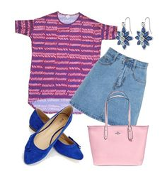 A LuLaRoe Irma tunic paired with a denim skirt can become a perfect outfit for relaxing in the warmer weather. Grab some cute flats, earrings, and bag and you've got an effortlessly adorable outfit.