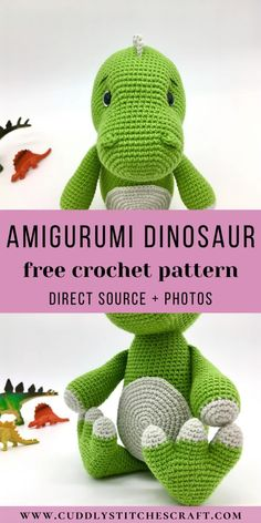 Crochet this adorable Amigurumi dinosaur with the help of my FREE dinosaur crochet pattern. This plushie will be a fun crochet project for you to work on and I'm sure that any kid will love this stuffed dinosaur. Visit my website for more free crochet toy patterns. #freecrochetpattern #freecrochetproject #freeamigurumipattern #freecrochettoypatterns #freecrochetanimalpatterns Crochet Animal Patterns, Stuffed Animal Patterns, Crochet Patterns Amigurumi, Cute Crochet, Crochet For Kids, Crochet Yarn, Yarn For Sale, Crochet Instructions, Crochet Videos