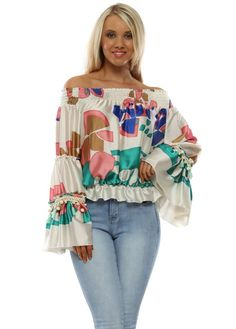 Stylish Port cream print bardot top available now on Designer Desirables. Browse more tops online and enjoy free UK delivery on all orders Cream Blouse, Bardot Top, Going Out Tops, Summer Outfits, Skinny Jeans, Boutique, Stylish, Spring, Pretty