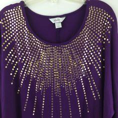 CJ-Banks-Top-Plus-Size-X-Purple-Studded-Stretch-Rayon-Dolman-Sleeve-Knit-XL