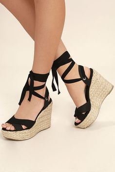 Esme Black Lace-Up Espadrille Wedges 404bc97b054d