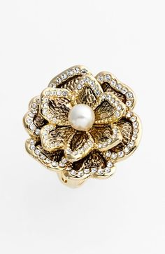 Ariella Collection Faux Pearl Flower Cocktail Ring available at #Nordstrom