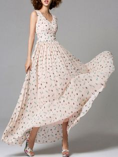 Chiffon Casual Floral Sleeveless Floral-print Maxi #Dress