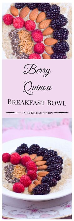 Fuel your morning with this Berry Quinoa Breakfast Bowl! Get 17 grams of plant based protein with this delicious #vegan breakfast.