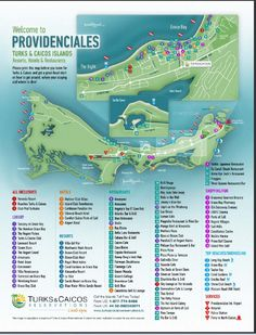 Turks and Caicos Map - every resort, restaurant and activity location needed for the Island of Providenciales #tci #map