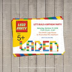 Lego Invitation / Lego Birthday invitation / by LittleApplesDesign, $12.00