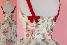 1950s floral party dress/ 50s chiffon by thesweetlifevintage