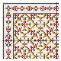 Geometric rose rug chart (link to full chart). Mini Cross Stitch, Cross Stitch Borders, Cross Stitch Designs, Cross Stitching, Cross Stitch Embroidery, Embroidery Patterns, Cross Stitch Patterns, Easy Knitting Projects, Cross Stitch Freebies