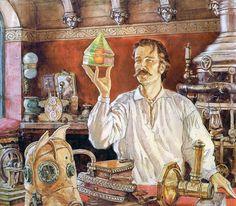 """Escritório de Arthur.  Livro """"Dinotopia, O Mundo Subterrâneo"""" Tags: dinossauros, james gurney, pinturas, fantasia"""