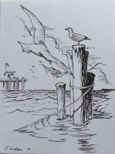 Möwen skizzieren in Tinte.us - Skizzen- Sketchbook, BuJo. Pencil Art Drawings, Art Drawings Sketches, Horse Drawings, Animal Drawings, Arte Sketchbook, Landscape Drawings, Landscape Sketch, Abstract Landscape, Pen Art