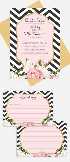 Bridal Brunch Printable Invite - Black and White Chevron, Pink and White Peonies, Gold Glitter Frame, Recipe Cards by Emily Edson Design