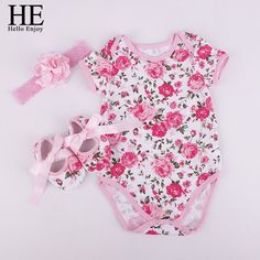 Nice HE Hello Enjoy Bodysuit baby girl 2017 Baby girl clothes sets girl clothes outfits (Bodysuits+Accessories + Baby First Walkers) - $19.92 - Buy it Now!