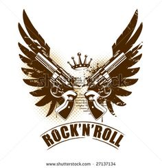 rock  guitar stencil   Abstract rock-n-roll image with two revolvers and wings - stock vector
