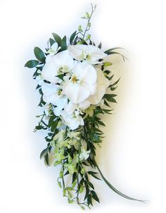 This gorgeous, cascading Hawaiian orchid wedding bouquet is made to order for your special day. Shown here in all white - large white cymbidium orchids with petite white dendrobium orchid sprays, and Hawaiian greenery.