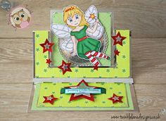 Christmas Fairy Swing Easel Card using Twinkle Lane Designs new Digi Stamp & Backing Papers https://www.etsy.com/uk/listing/386960856/christmas-fairy-digi-stamp-colouring #cardmaking #handmade #christmas #fairy