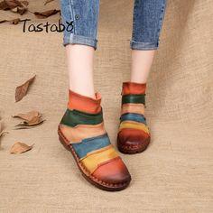 81e9ab5cd182 50% СКИДКА Tastabo Лидер продаж, Ботинки martin, ботильоны из натуральной  кожи, винтажная повседневная обувь, фирменный дизайн, женские ботинки  ручной ...