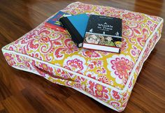 Toss this floor cushion anywhere to create the perfect reading spot! Choose favorite fabric prints and colors to create your own Reading Pillow. Quilt Patterns Free, Sewing Patterns, Pillow Inspiration, Reading Pillow, Antique Clocks, Sewing Pillows, Small Quilts, Floor Cushions, Handmade Home Decor