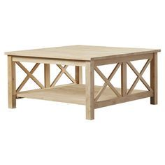 Features:  -Decorative x-design on the sides of the table.  -Unit includes lower shelf for ample storage.  -Unfinished surface.  Top Finish: -Unfinished.  Base Finish: -Unfinished.  Top Material: -Sol
