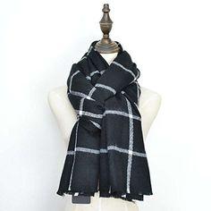 Automne Hiver écharpe de femmes Écharpe automne Foulard d hiver  Surdimensionné dans la couleur noir blanc de la marque MyBeautyworld24 6ef8db73054