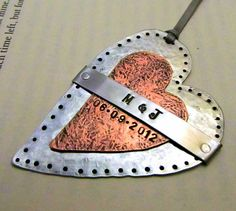Personalized Wedding Keepsake - Hand Stamped Mixed Metal Heart Ornament with Cold Connections and Rivets.