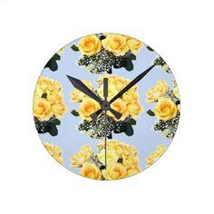 Yellow Roses Wedding Items Round Wallclocks
