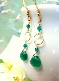 Gold filled green onyx hoop dangle earrings, Green Christmas Green Onyx Dangle Earrings, elegant Christmas gift green onyx gold earrings