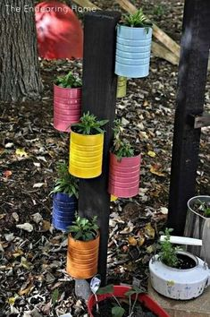 Recycled Tin Can Planter Tin Can Crafts, Fun Diy Crafts, Summer Crafts, Soup Can Crafts, Kids Crafts, Coffee Can Crafts, Coffee Can Diy Projects, Crafts With Tin Cans, Kids Garden Crafts