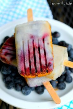 Roasted Blueberries and Cream Popsicles