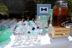 Our Little Man themed Mimosa  Mocktail table at todays baby shower!