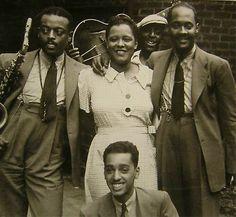 Ben Webster ,Billie Holiday ,Johnny Russel  and Ram Ramirez in Harlem , 1935