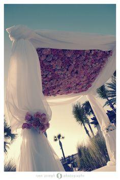 Beautiful wedding ceremony decor with flowers