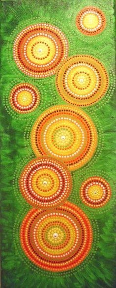 Original Dot Painting 50 x 20 cm, Blumenwiese