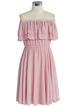 Endless Off-shoulder Frilling Dress in Pastel Pink - Retro, Indie and Unique Fashion