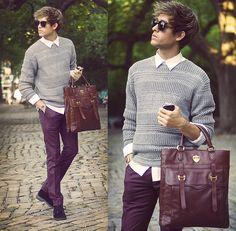 All Saints Sweater, Ben Minkoff Bag, Topman Trousers - Mercedes Benz Fashion Week - Day 4  - Adam Gallagher