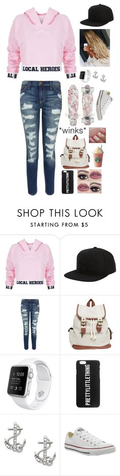 """""""Loving These Cropped Hoodies"""" by maxilicious ❤ liked on Polyvore featuring Local Heroes, Billabong, Current/Elliott, Wet Seal, FOSSIL and Converse"""