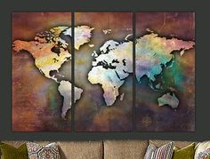 Single Large Canvas World Map 48x24 Antique Map by BigAppleCanvas