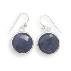 """Round Faceted Rough-Cut """"Sapphire"""" Drop Earrings French Wire Sterling Silver"""