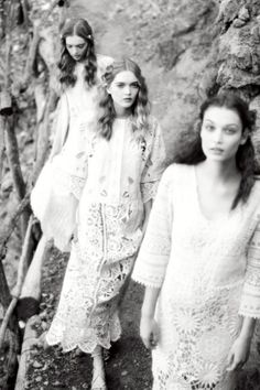 """girlsingreenfields: """"A Picnic in Marllorca. Lieke van Houten, May and Ruth Bell photographed by Ellen von Unwerth for Vogue Italia May 2015. """""""