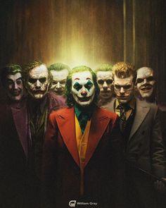 willgray_art All seven live action Jokers throughout history. From left to right; Cesar Romero in Batman Heath Joker Comic, Le Joker Batman, The Joker, Joker Art, Batman Art, Batman Robin, Gotham Batman, Comic Art, Joker Dark Knight