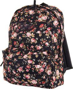 66ba834593 Vans Womens Realm Black Floral Backpack School Bag Travel Backpack